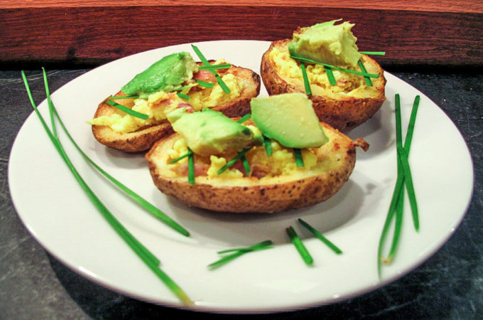 Breakfast Potato Skin with Egg and Avocado