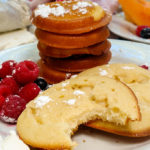 Pancakes with sweetened cream cheese baked right in, a great grab and go breakfast