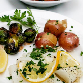Oven baked cod recipe with new potatoes and brussels sprouts
