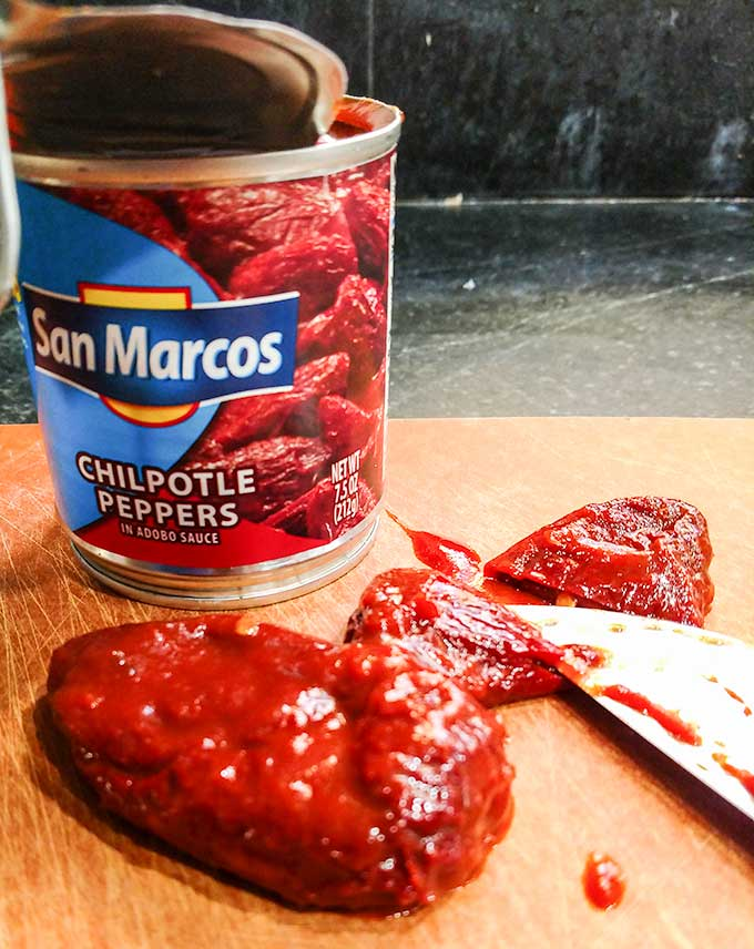Chipotle chilis in adobo sauce for beef barbacoa tacos