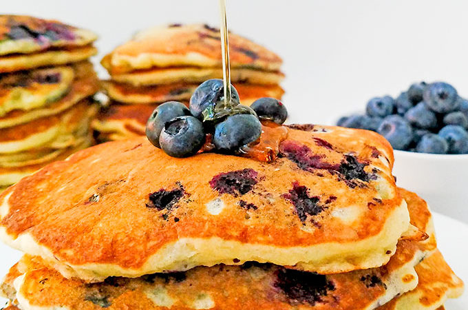 Stack of buttermilk blueberry pancakes