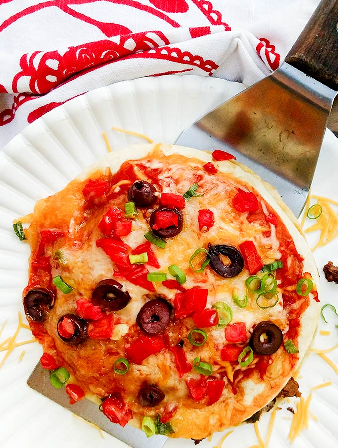 Copycat Taco Bell Mexican pizza with black olives