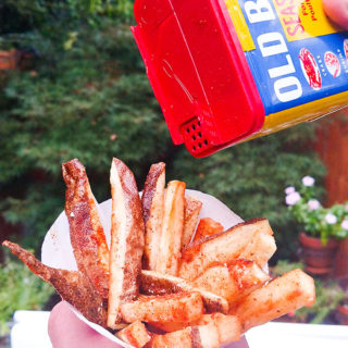 Baked French fries recipe boardwalk style with old bay