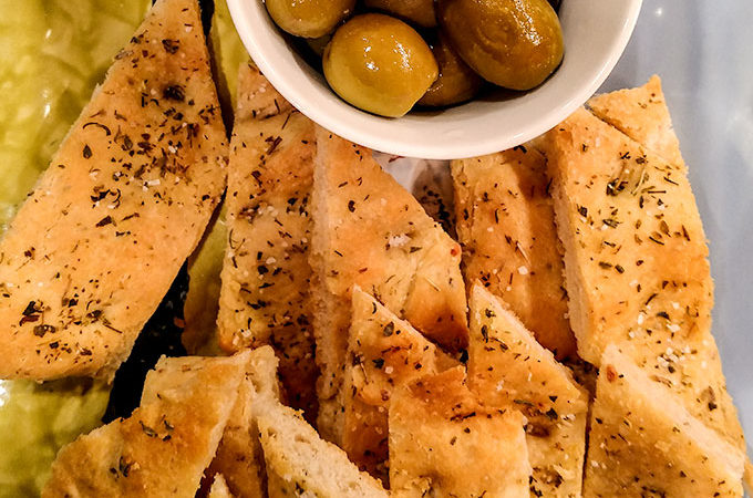 Bread machine focaccia recipe as appetizer