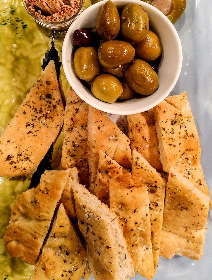 Bread machine focaccia recipe as appetizer