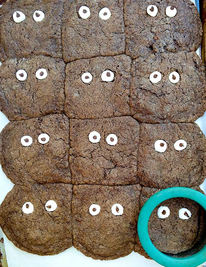 googly eyes cookies melted together