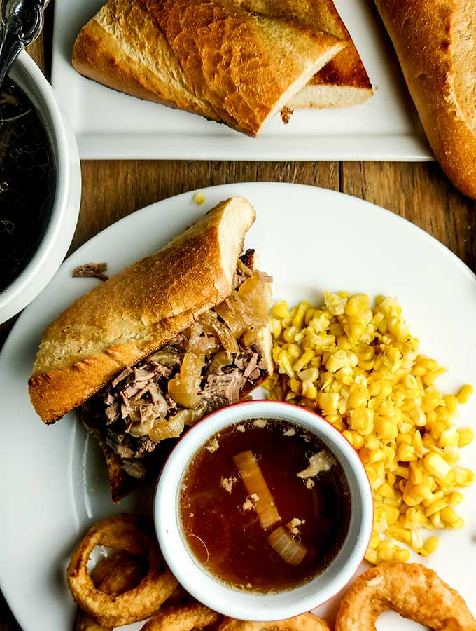 French dip sandwich with slow cooker beef roast