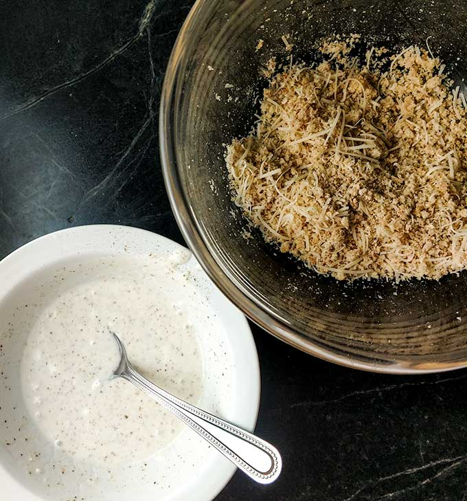 Parmesan chicken couscous dinner with dressing and bread crumb mix