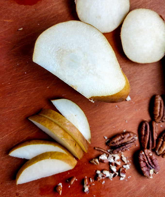 Sliced pear for fig and pear quesadilla