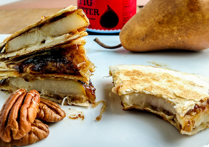 fig and pear quesadilla slices