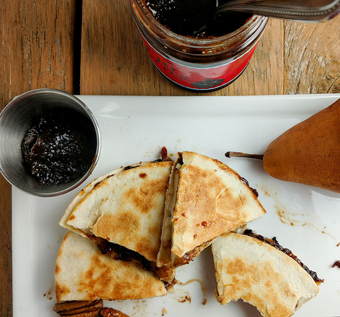 Fig and pear quesadilla with extra fig jam