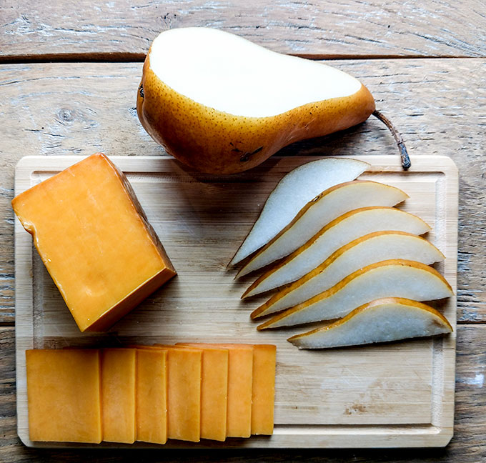 pear slices and smoked cheddar