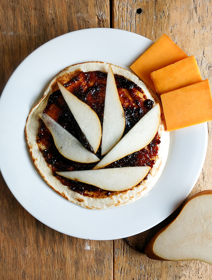 Fig and pear quesadilla gourmet style