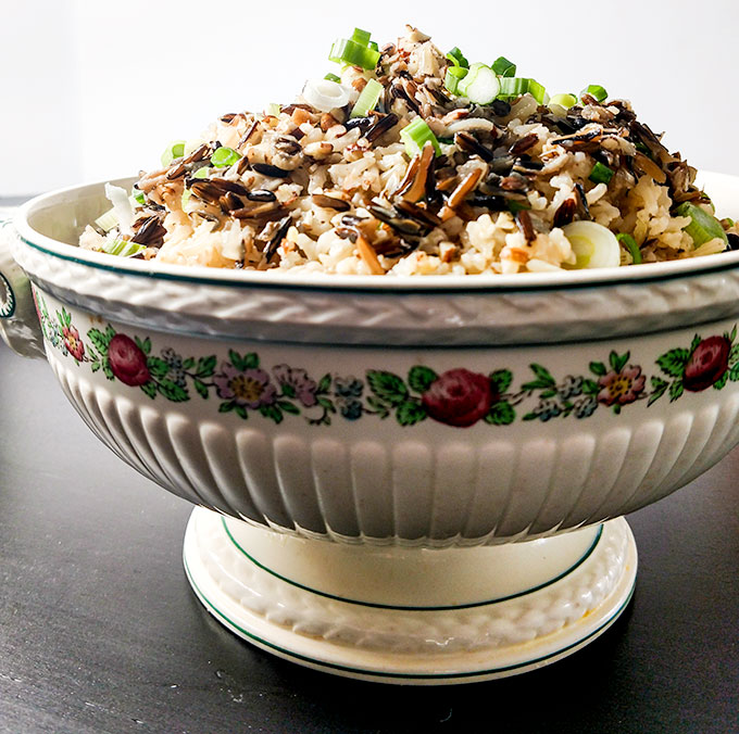 Brown and wild rice medley in serving dish