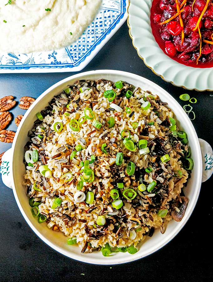 wild and brown rice side dish with pecans