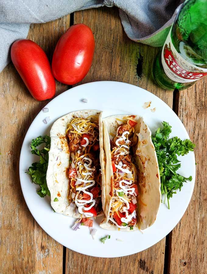 Easy chicken tacos for a crowd in tortillas