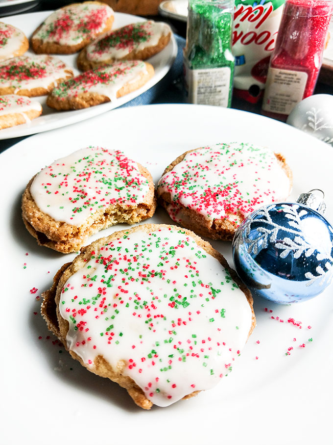 Mom's Christmas cookies iced with sprinkles