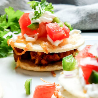 Bite size chicken taco appetizer