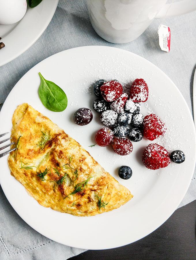 Mushroom and gruyere omelette