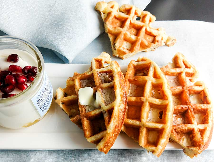 Buttermilk waffles with melted butter
