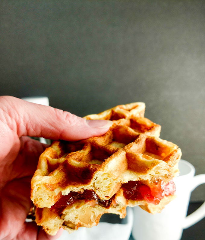 Walking buttermilk waffle with jelly