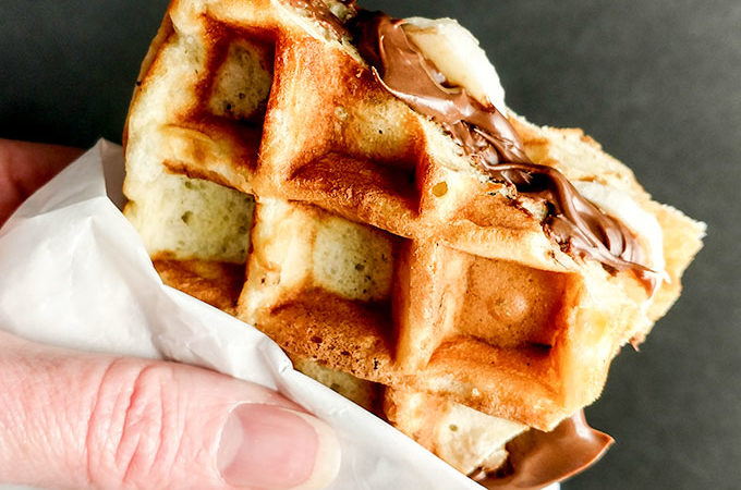 Walking buttermilk waffles with nutella and banana