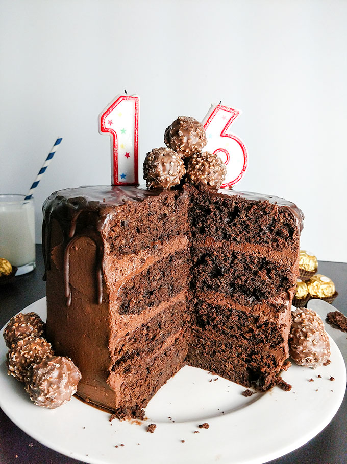Astonishing Chocolate Birthday Cake With Nutella Buttercream Frosting On The Birthday Cards Printable Riciscafe Filternl